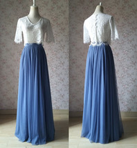 Dusty Blue Bridesmaid Dresses 2 Piece Long Tulle Skirt and Sleeve Crop Lace Top  image 1