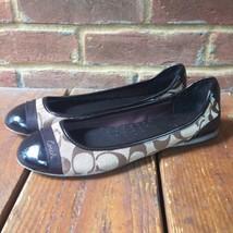 COACH Cecile Signature Logo Brown Tan Flats Shoes Sz 6-1/2 B Q1060 Canva... - $35.00