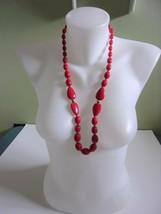 """Vintage NAPIER Red Plastic Lucite & Gold-tone Necklace 14"""" Drop - $17.99"""