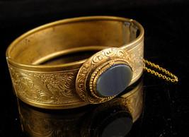 Victorian haunted stone Bracelet - vintage ornate gold metal work - anti... - $145.00