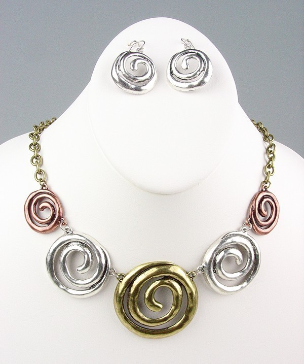 Primary image for CHUNKY Antique Metal Swirl Rings Drape Necklace Earrings Set