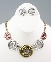 CHUNKY Antique Metal Swirl Rings Drape Necklace Earrings Set - $12.99