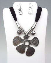 CHUNKY Antique Silver Metal Floral Medallion Black Chiffon Necklace Earr... - $14.99