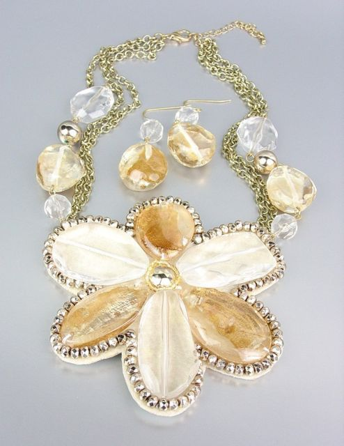 Primary image for CHUNKY Clear Brown Metallic Lucite Flower Bib Drape Chains Necklace Set