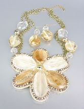 CHUNKY Clear Brown Metallic Lucite Flower Bib Drape Chains Necklace Set - $19.99