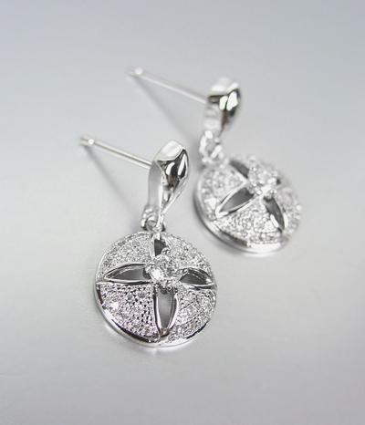 Primary image for CLASSIC 18kt White Gold Plated CZ Crystals Petite Dangle Earrings