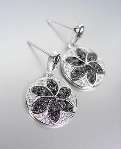 Primary image for CLASSIC 18kt White Gold Plated Clear Black CZ Crystals Petite Dangle Earrings
