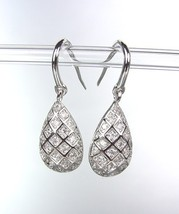 CLASSIC 18kt White Gold Plated Micro Pave CZ Crystals Dangle Petite Earrings - £16.71 GBP