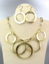 CLASSIC Gold Satin Metal Rings Chain Drape Necklace Earrings Set - $19.99