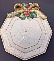 Fitz & Floyd Classic Holiday Ceramic Collector Plate Gold Trim Raised Bow - $21.77
