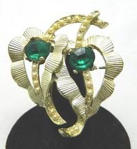 VTG Gold Tone Faux Pearl Green Glass Rhinestone Leaf Leaves Pin Brooch - $14.85