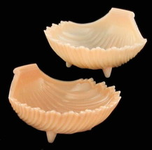 Vintage Westmoreland Pink Milk Glass Scalloped Shell Bowls Set Of Two, Pair - $71.61