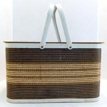Vintage Mid Century Brown Striped Woven Wicker Picnic Basket Metal Handl... - $39.55