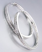 CLASSIC Thin 18kt White Gold Plated Inside Outside CZ Crystals Hoop Earrings - $42.99