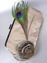Chic Beige Satin Flower Bouquet Peacock Feather Clutch Evening Purse Bag - $12.99