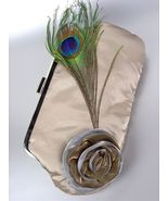 Chic Beige Satin Flower Bouquet Peacock Feather Clutch Evening Purse Bag - £10.19 GBP