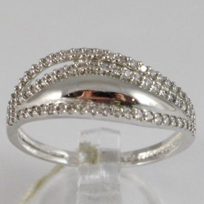 WHITE GOLD RING 750 18K, VERETTA WITH ZIRCON CUBIC, 3 FILE, UNDULATED