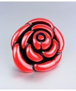 Chunky Organic Coral Red Flower Stretch Ring - $7.99