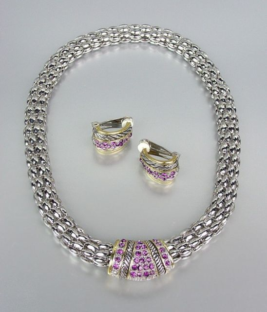 Primary image for Designer Style Amethyst Pav'e Crystals Silver Mesh Chain Necklace Earrings Set