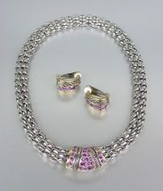 Designer Style Amethyst Pav'e Crystals Silver Mesh Chain Necklace Earrin... - $34.99
