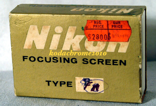 Nikon F, F2 Focusing Screen Type F w/Box & Info Sheet-All F Models & Photomics-
