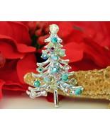 Vintage Christmas Tree Figural Brooch Pin AB Rhinestones Silver Tone - $14.95