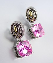Designer Style Balinese Silver Gold Pink Quartz CZ Crystal Petite POST Earrings - $18.99