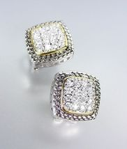 Designer Style Balinese Silver Wheat Gold Pave CZ Crystals Square Post Earrings - $25.99