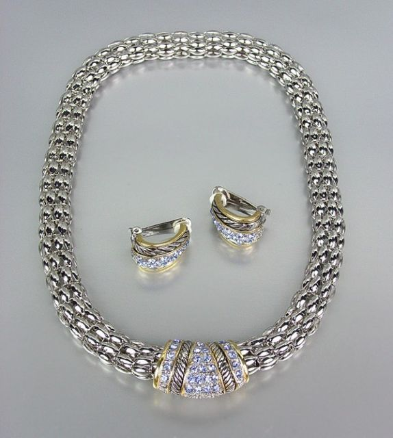 Primary image for Designer Style Blue CZ Pav'e Crystals Silver Mesh Chain Necklace Earrings Set
