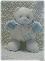 Plush Rolly Pollie Blue White Clown Baby Bear Ellis Security Lovey Rattle Toy - $12.34