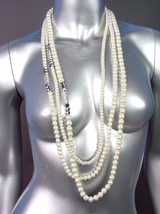 Designer Style Creme Pearls Hematite Crystals Long Layered Necklace Earr... - $19.99