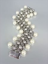 Designer Style Creme Pearls Silver Cable CZ Crystals Magnetic Clasp Brac... - $29.99