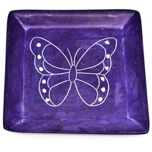 Vaneal Group Hand Carved Kisii Soapstone Butterfly Square Trinket Dish Kenya image 1