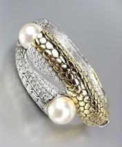 Designer Style Gold Kali Silver Weave CZ Crystals Creme Pearls Bangle Br... - $667,80 MXN