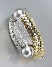 Designer Style Gold Kali Silver Weave CZ Crystals Gray Pearls Bangle Bra... - €30,62 EUR