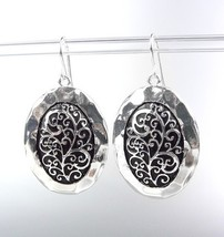 Designer Style Silver Black Filigree Oval Dangle Earrings - $8.99