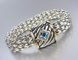 Designer Style Silver Cable Gold Blue Topaz Crystal Magnetic Mesh Chain ... - $324,90 MXN