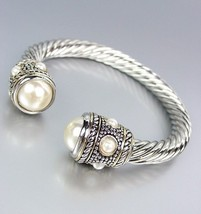Designer Style Silver Cable Pearls Wide End Tips Cuff Bracelet - $26.99
