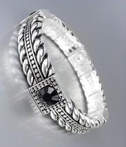 Designer Style Silver Cables Black Crystals Stretch Bracelet - $9.99