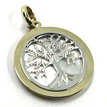 9K WHITE YELLOW GOLD PENDANT, TREE OF LIFE DISC DIAMETER 17 MM, MOTHER OF PEARL image 1