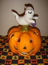 Ceramic Halloween Pumpkin With Ghost On Top Candle Holder - $15.99