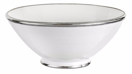 Moroccan Handmade White Ceramic Bowl Silver Metal Trim Glazed Terracotta - $470,61 MXN