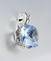Designer Style Silver Gold Balinese Filigree Blue Topaz CZ Crystal Pendant - $26.99