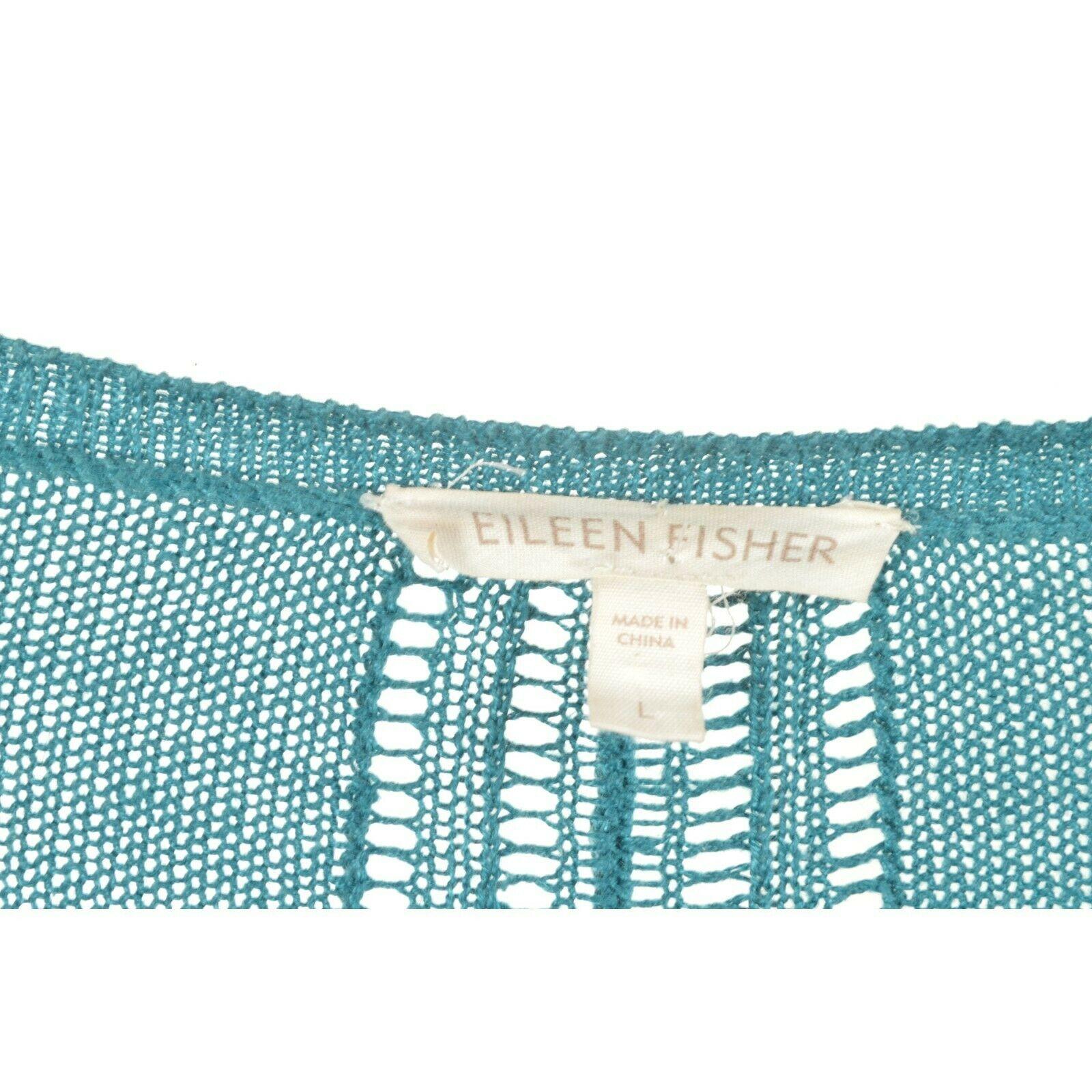 Eileen Fisher sweater cardigan SZ L teal 100% linen knit pockets soft long s image 6