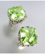 Designer Style Silver Gold Balinese Filigree Peridot Green CZ Crystal Ea... - £20.72 GBP