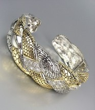 Designer Style Silver Gold Weave Texture CZ Crystals Sculpted Cuff Bracelet - $39.99