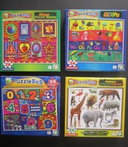 Lot of 4 Puzzlebug Learning Puzzles 24 Pcs ABC,Animals Shapes Numbers Ag... - $11.87