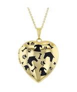 "Gold Tone My Dog Puppy Bone Paw Heart Photo Locket Pendant Necklace 19"" - $47.97"