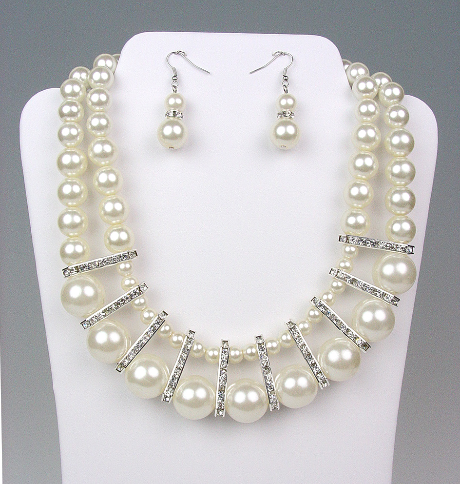 Primary image for ELEGANT Bridal Dressy Creme Pearls Crystals Drape Necklace Earrings Set
