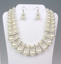 ELEGANT Bridal Dressy Creme Pearls Crystals Drape Necklace Earrings Set - $26.99